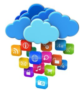 13968792 - cloud computing and mobility concept blue glossy clouds with lot of color application icons isolated on white background